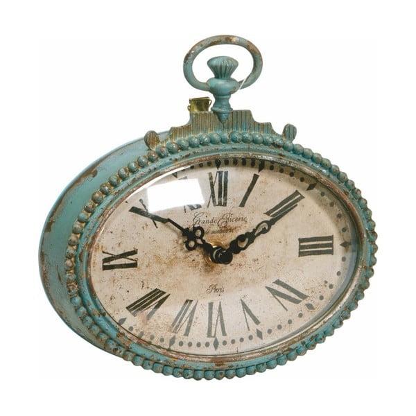 Kovové hodiny, antique green, 17x17x5 cm