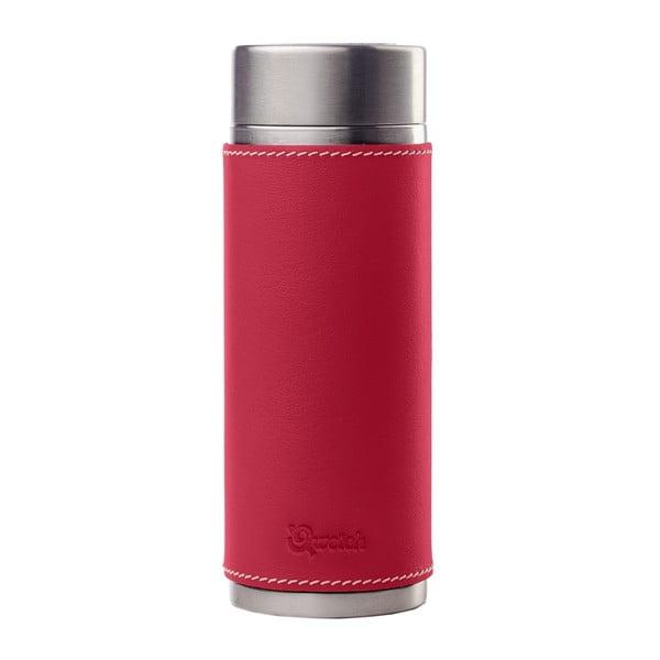 Nerezová termolahev na čaj s koženým červeným obalem, 300 ml