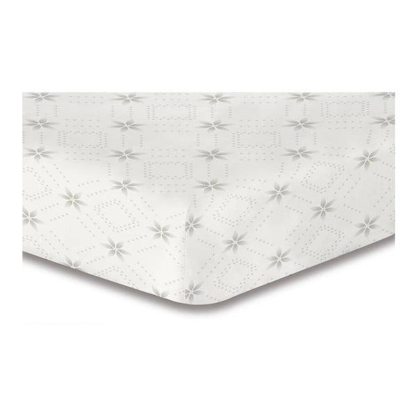 Bílé elastické prostěradlo se vzorem DecoKing Hypnosis Snowynight, 220x240cm