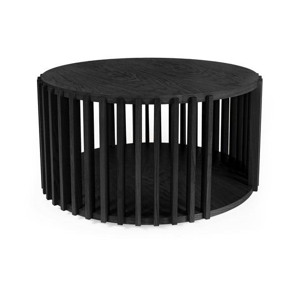 Czarny stolik z drewna dębowego Woodman Drum, ø 83 cm