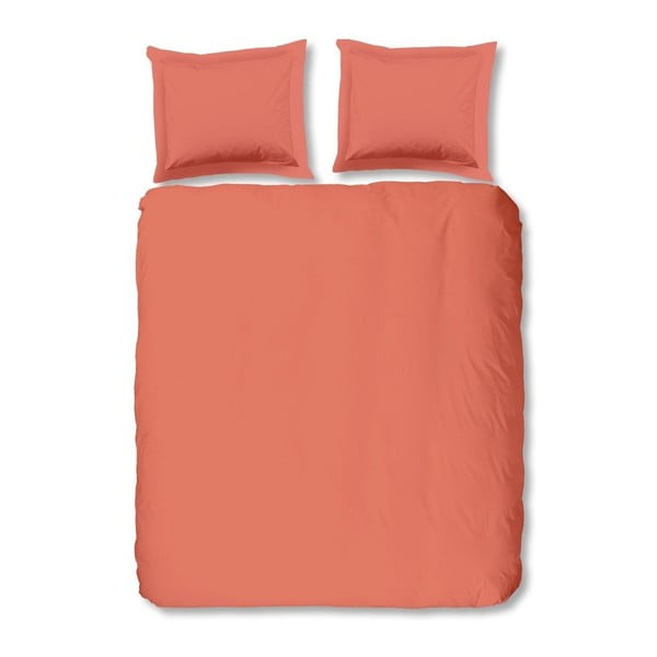 Světle oranžové bavlněné povlečení na dvoulůžko Uni, 240x200cm
