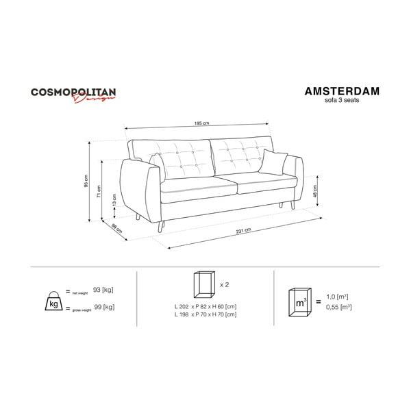 Tmavě šedá trojmístná rozkládací pohovka s úložným prostorem Cosmopolitan design Amsterdam