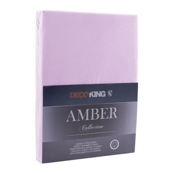 Světle fialové elastické prostěradlo DecoKing Amber Collection, 100-120 x 200 cm