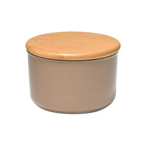 Béžová dóza s dřevěným víčkem Emile Henry, objem 0,3 l
