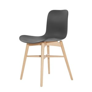 Černá jídelní židle z masivního bukového dřeva NORR11 Langue Natural