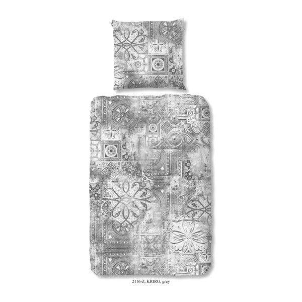 Povlečení na jednolůžko z bavlněného saténu Muller Textiels Rusto Gris, 140 x 200 cm
