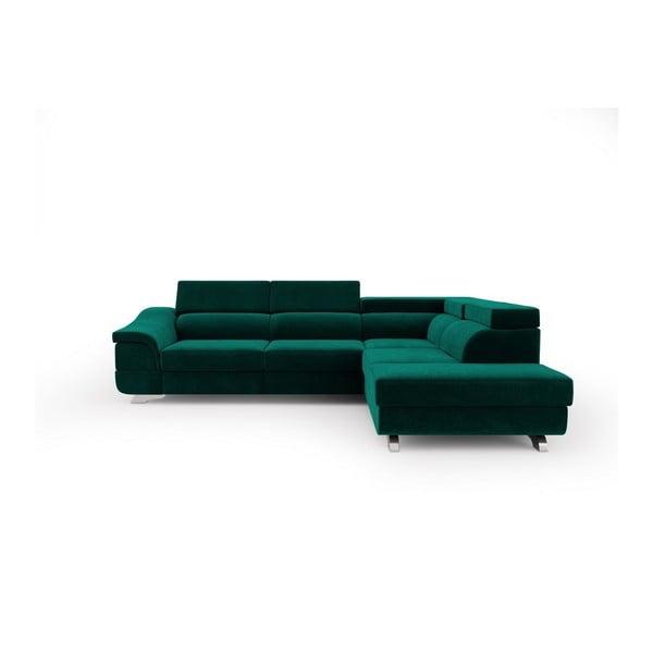 Lahvově zelená rozkládací rohová pohovka se sametovým potahem Windsor & Co Sofas Apollon, pravýroh