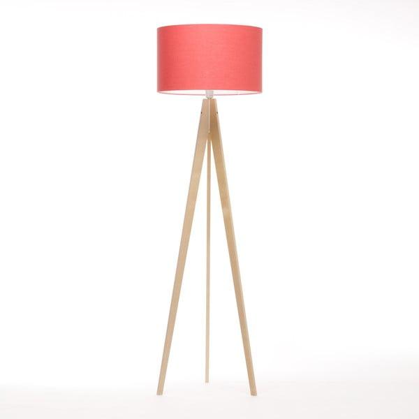 Stojací lampa Artist Coral Red Linnen/Birch Natural,, 125x42 cm