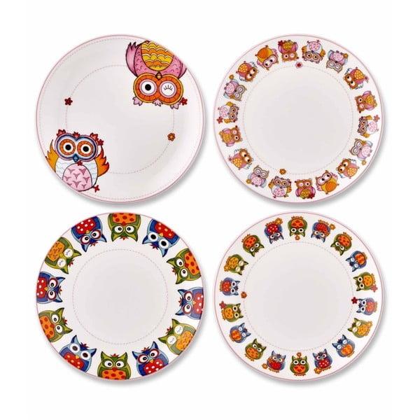 Sada 4 dezertních talířů z kostního porcelánu The Mia Owl Tea