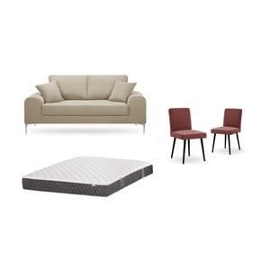 Set dvoumístné šedobéžové pohovky, 2cihlově červených židlí a matrace 140 x 200 cm Home Essentials
