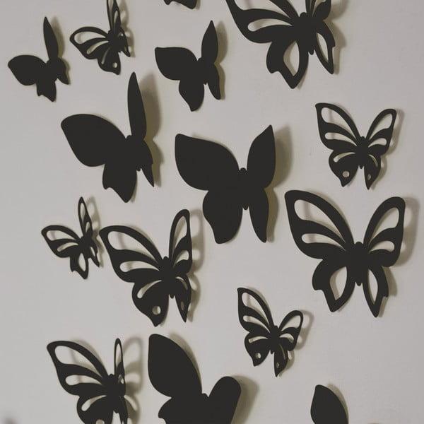 Sada 3D motýlků - perleťová černá, 24 ks