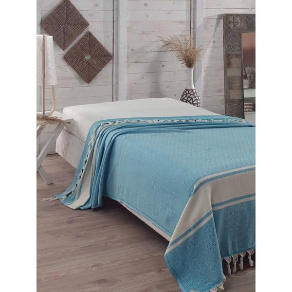 Elmas Turquoise türkizkék pamut ágytakaró, 200x240 cm