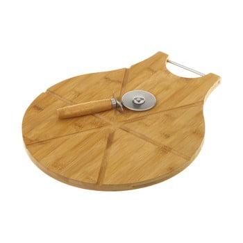 Set tocător din bambus și cuțit pentru pizza Unimasa Cutter imagine