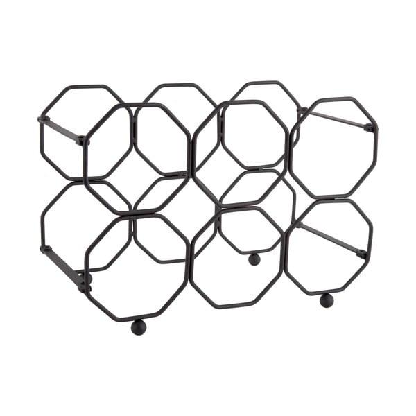 Czarny metalowy składany stojak na wino PT LIVING Honeycomb