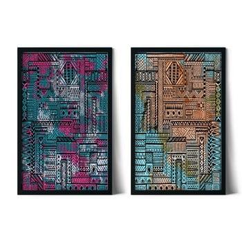 Set 2 tablouri cu ramă Insigne Donali,46x72cm