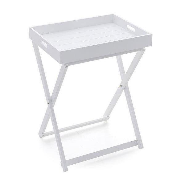 Dřevěný stolek s tácem White, 49x37x65 cm