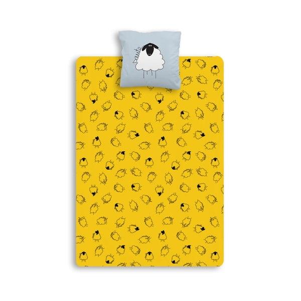 Prostěradlo Moutons jaune gris, 140x190 cm