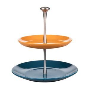 Suport prăjituri etajat Kaleidos Cake, albastru - portocaliu