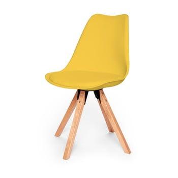 Scaun cu structură din lemn de fag loomi.design Eco, galben de la loomi.design