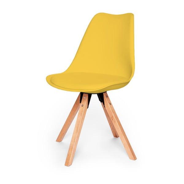 Zestaw 2 żółtych krzeseł z konstrukcją z drewna bukowego loomi.design Eco