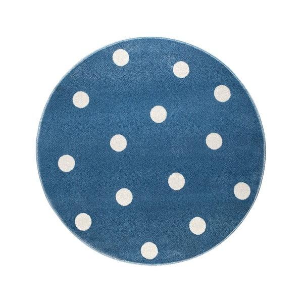 Modrý kulatý koberec s puntíky KICOTI Blue Stars, ø 80 cm