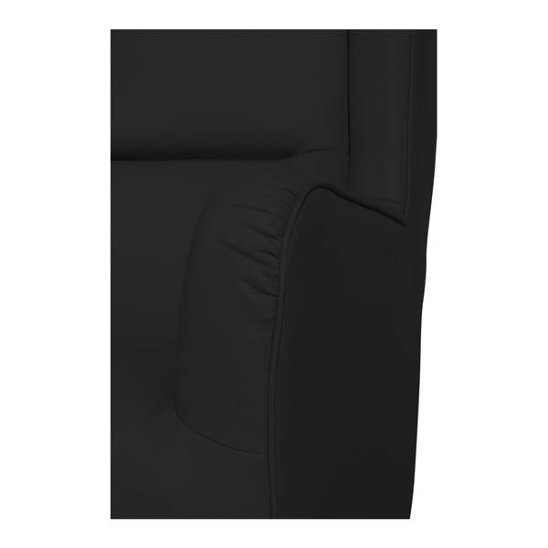 Černé koženkové křeslo ušák Max Winzer Bruno