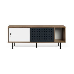TV komoda v dekoru ořechového dřeva s černobílými detaily TemaHome Dann Dots, délka 165cm