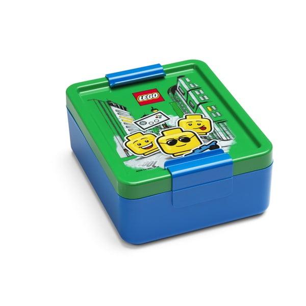 Cutie pentru gustare cu capac verde LEGO® Iconic, albastru