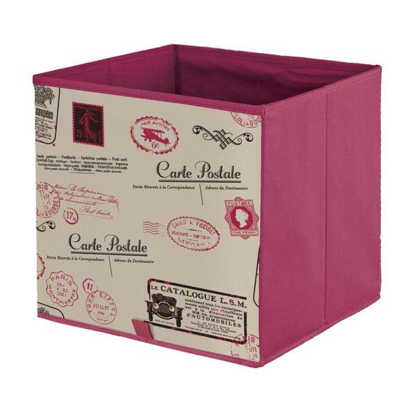 Červený úložný box Domopak Stamps, délka32cm