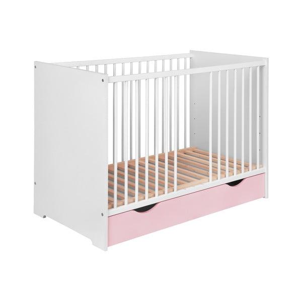 Pătuț copii cu sertar KICOTI Circle, 60x120cm, roz - alb