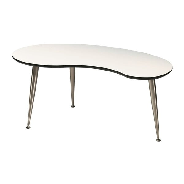 Bílý konferenční stolek s nohami ve stříbrné barvě Folke Strike, 40x70x110cm