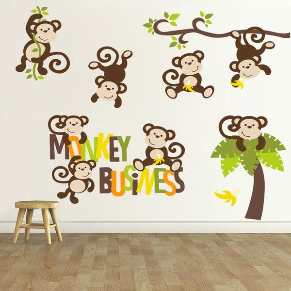 Samolepka na stěnu Monkey Business, 90x60 cm