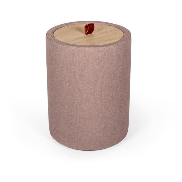 Odkládací stolek ve světle růžové barvě se snímatelnou deskou z dubového dřeva Askala Ibisco, ⌀36cm
