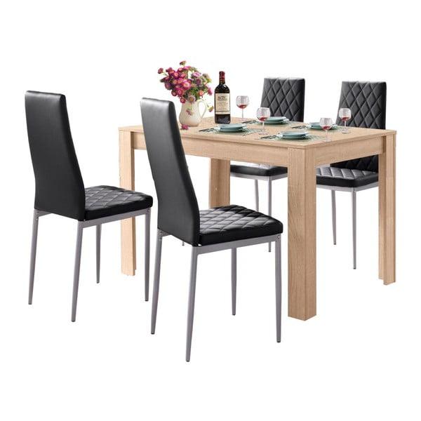 Set jídelního stolu v dubovém dekoru a 4 černých jídelních židlí Støraa Lori and Barak, 120x80cm