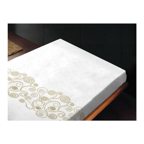 Neelastické prostěradlo Lira Bianco Oro, 180x260 cm