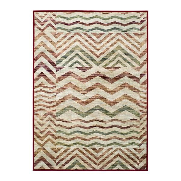 Béžovo-vínový koberec z viskózy Universal Belga Zig Zag, 140x200cm