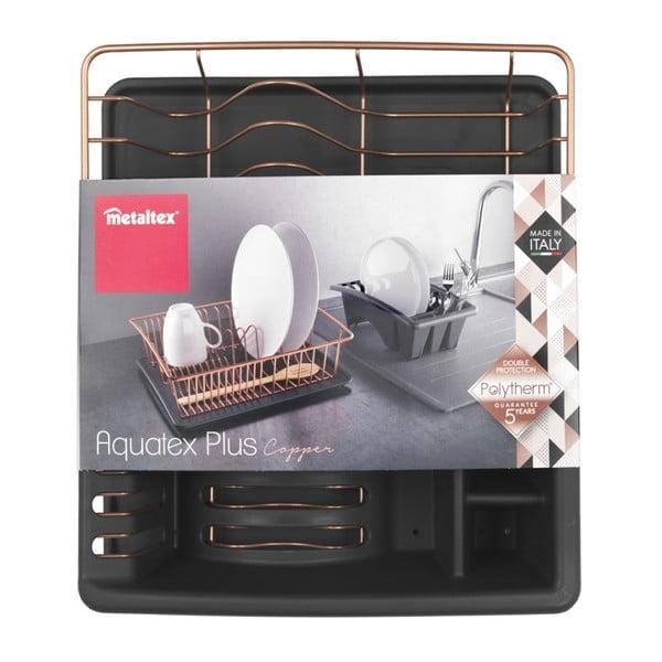 Odkapávač s podložkou v měděné barvě Metaltex