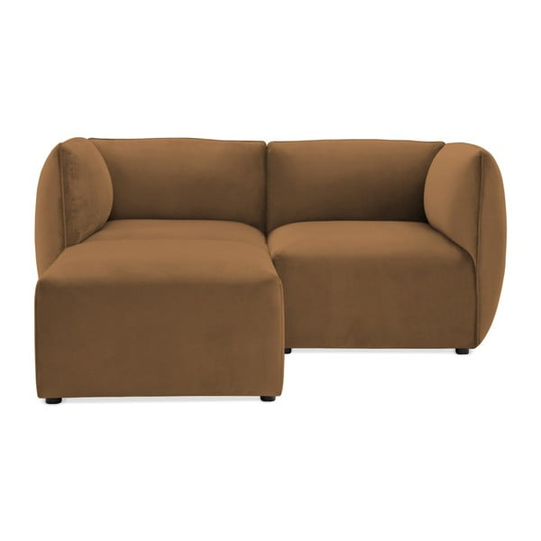 Canapea modulară cu 2 locuri și suport pentru picioare Vivonita Velvet Cube, maro