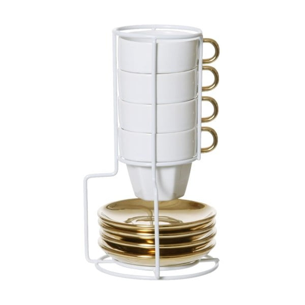 Sada 4 hrnků se stojánkem Espresso Tower