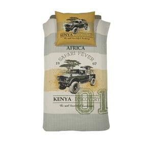 Bavlněné povlečení na jednolůžko Damai Khaki Kenia, 200x140cm