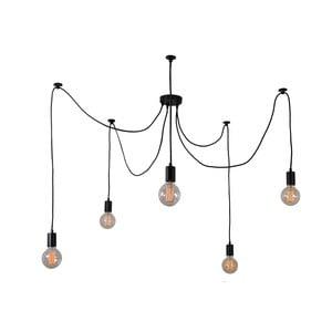 Černé stropní svítidlo s5žárovkami Filament Style Spider Lamp
