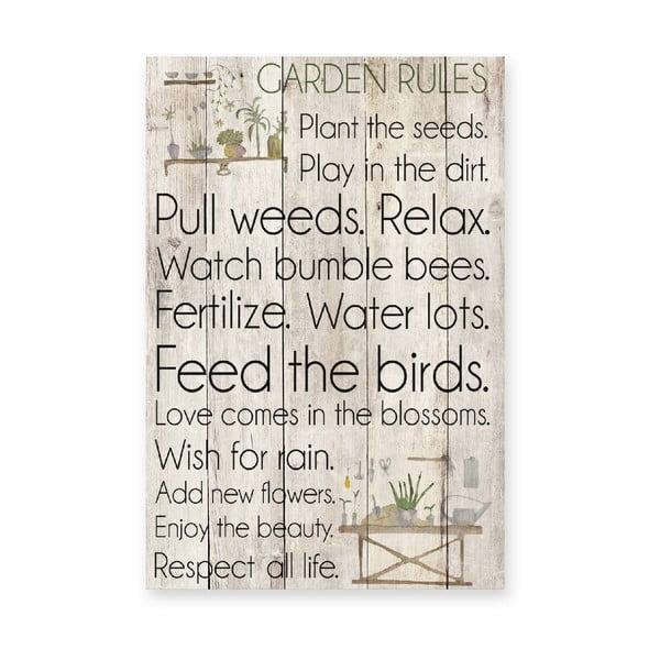 Dřevěná cedule Garden Rules