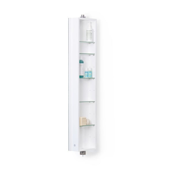 Bílá koupelnová skříňka se zrcadlem Wireworks Domain, výška 110 cm