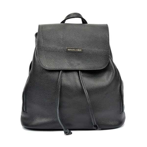 Čierny kožený batoh Renata Corsi Ruhmo Lento