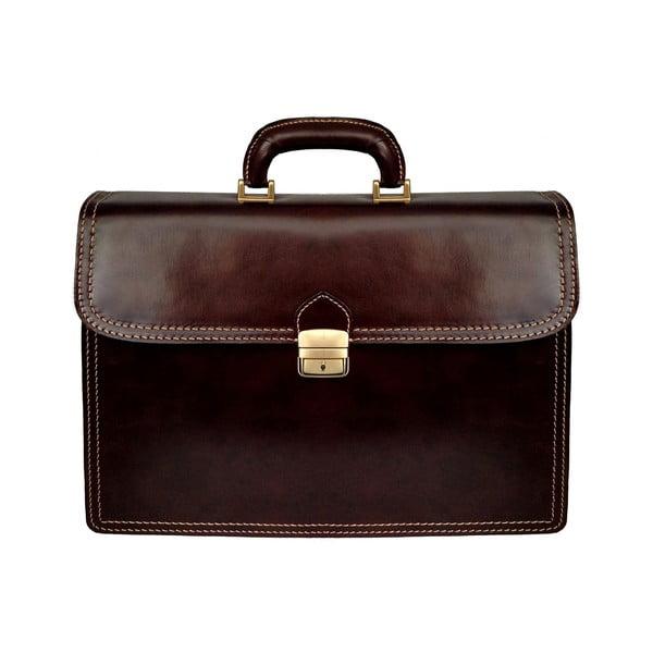 Kožený kufřík Cannonau, tmavě hnědý