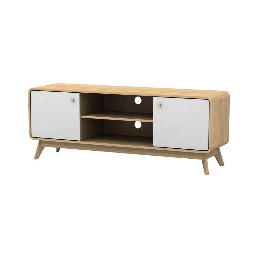 Bílohnědý dřevěný TV stolek Støraa Cleo