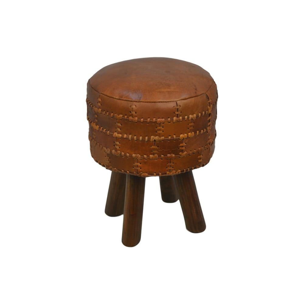 Stolička z hovězí kůže HSM collection Art of Nature Vintage Cognac, ⌀ 33 cm
