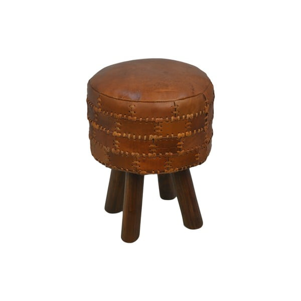 Taboret z skóry bydlęcej HSM collection Art of Nature Vintage Cognac, ⌀ 33 cm