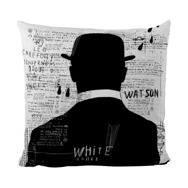 Polštářek Black Shake White Collar, 40x40 cm