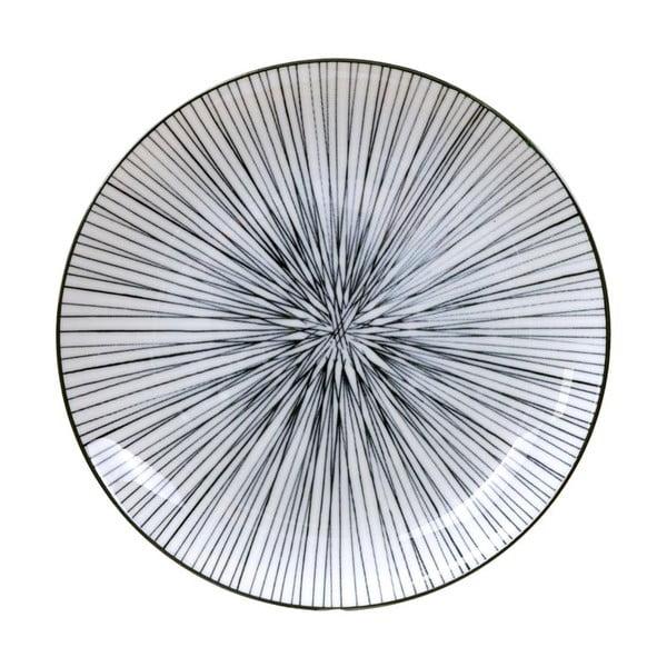 Černo-bílý talíř Tokyo Design Studio Nippon Lines,ø20,6cm
